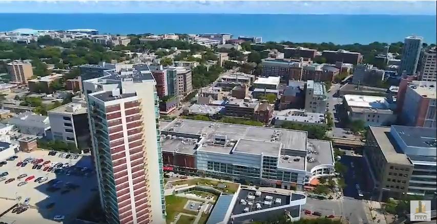 Aerial Video of Evanston, Northwestern, Optima Views and Sherman Plaza